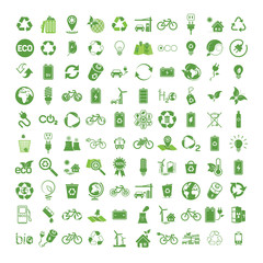100 ecology & nature green icons set on white background. Vector