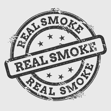 Real smoke rubber stamp isolated on white background. Grunge round seal with text, ink texture and splatter and blots, vector illustration.