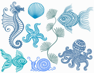 patterns mamarine inhabitants . starfish fish octopus  seahorse shell snail  . sea ocean .