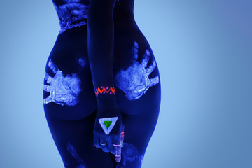 Booty with traces of male hand in ultraviolet light