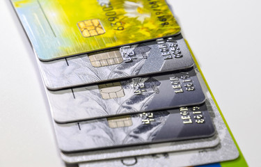 Bank cards. Modern financial instrument of cashless payment