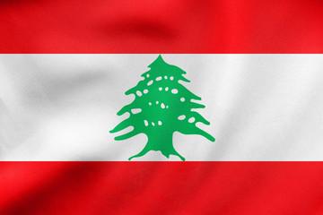 Flag of Lebanon waving, real fabric texture