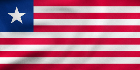 Flag of Liberia waving, real fabric texture