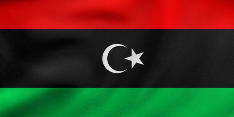 Flag of Libya waving, real fabric texture