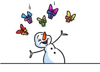 Christmas snowman character gift rain cartoon illustration isolated image