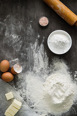 Baking dough, preparation ingredients and tools