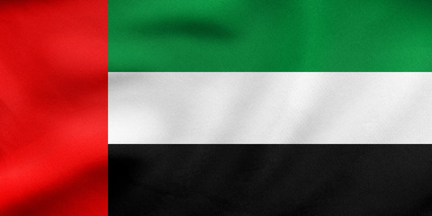 Flag of the UAE waving, real fabric texture