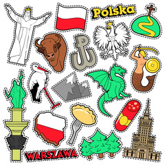 Poland Travel Scrapbook Stickers, Patches, Badges for Prints with Syrenka, Eagle and Polish Elements. Comic Style Vector Doodle