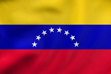 Flag of Venezuela waving, real fabric texture