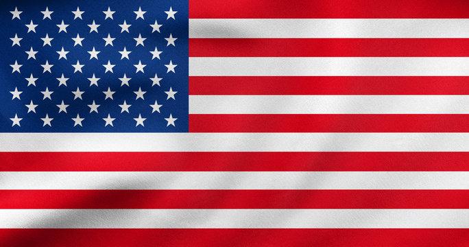 Flag of USA waving, real fabric texture