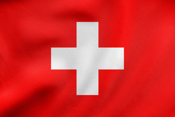 Flag of Switzerland waving, real fabric texture
