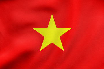 Flag of Vietnam waving, real fabric texture