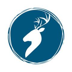 profile deer animal icon inside blue circle over white background. hipster style design. vector illustration