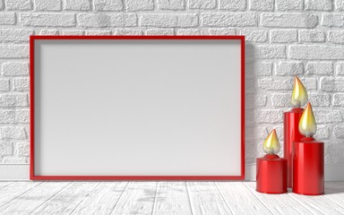 Blank picture frame and red candlestick on white brick wall. Moc