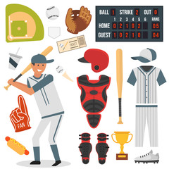 Cartoon baseball player icons batting vector design