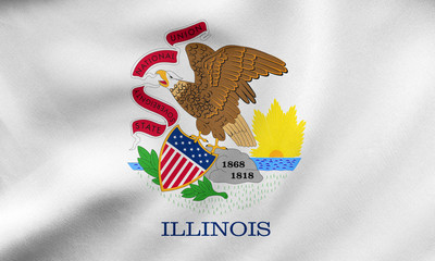 Flag of Illinois waving, real fabric texture