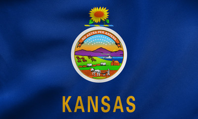 Flag of Kansas waving, real fabric texture