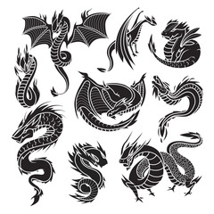 Chinese dragon silhouettes on white background.