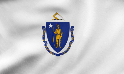 Flag of Massachusetts waving, real fabric texture