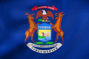 Flag of Michigan waving, real fabric texture