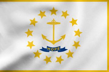 Flag of Rhode Island waving, real fabric texture