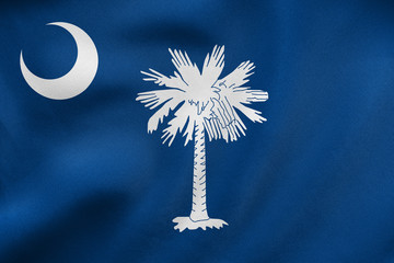 Flag of South Carolina waving, real fabric texture