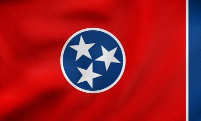 Flag of Tennessee waving, real fabric texture