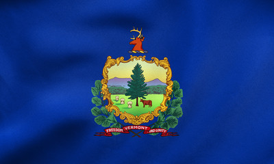 Flag of Vermont waving, real fabric texture
