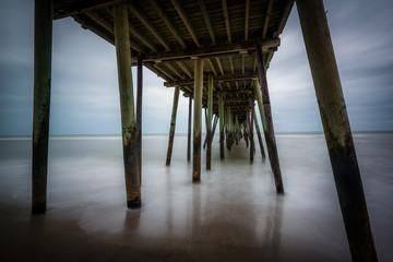 Long exposure of the fishing pier and Atlantic Ocean, in Virgini