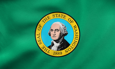 Flag of Washington state wavy, real fabric texture