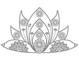 vector illustration of mandala lotus flower for coloring book, fiore di loto mandala da colorare