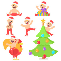 Set with cartoon happy baby boy in christmas santa hat in different poses. Vector kid in flat style illustration isolated on white background.