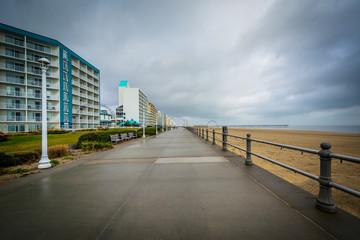 The boardwalk and highrise hotels in Virginia Beach, Virginia.