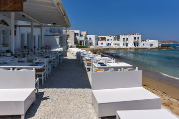 White house and Bay in Naoussa town, Paros island, Cyclades, Greece