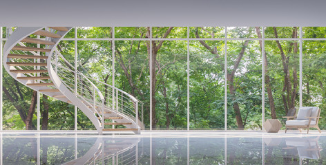 Spiral stair in the glass house 3D rendering image.Surrounded by nature. Large windows Looking to experience nature up close.