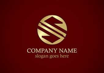 round gold letter s vector logo