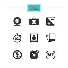 Photo, video icons. Web camera, photos and frame signs. No flash, timer and portrait symbols. Black flat icons. Classic design. Vector