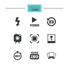 Photo, video icons. Camera, photos and frame signs. Flash, timer and macro symbols. Black flat icons. Classic design. Vector