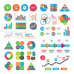 Business charts. Growth graph. File document with diagram. Pie chart icon. Presentation billboard symbol. Supply and demand. Market report presentation. Vector