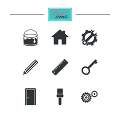 Repair, construction icons. Service, key and door signs. Painting, brush and pencil symbols. Black flat icons. Classic design. Vector