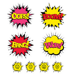 Comic Boom, Wow, Oops sound effects. Happy face speech bubble icons. Smile sign. Map pointer symbols. Speech bubbles in pop art. Vector