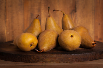 Pears on a Wooden Table. Selective focus.