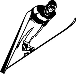 Skier Vinyl Ready Vector Illustration
