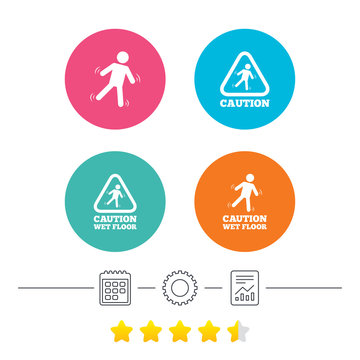 Caution wet floor icons. Human falling triangle symbol. Slippery surface sign. Calendar, cogwheel and report linear icons. Star vote ranking. Vector
