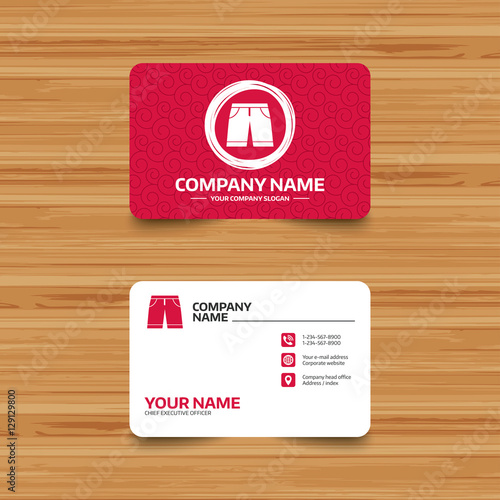 Business Card Template With Texture Mens Bermuda Shorts Sign Icon