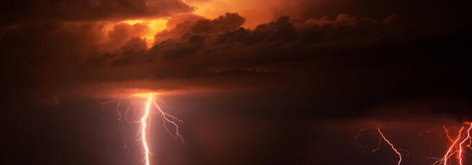 Thunder, lightnings and rain during summer night