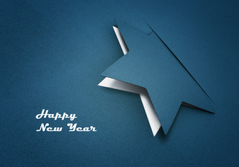 paper star  - christmas star and happy new year card - 3D graphic xmas (blue)
