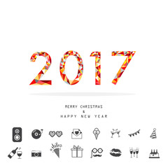 happy new year 2017 with party icon