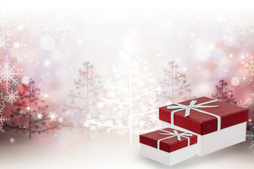 Holiday Christmas background with gift boxes.