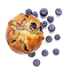 Blueberry Muffin Isolated on White Top View